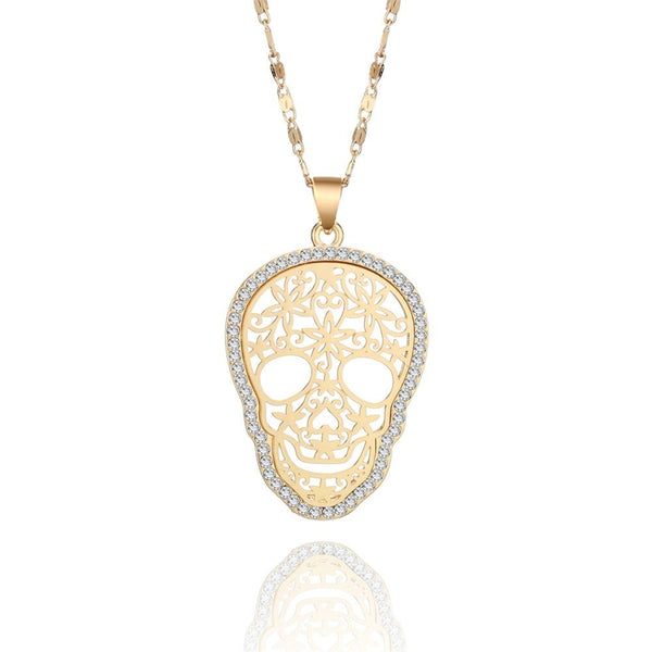 Crystal Sugar Skull Necklace
