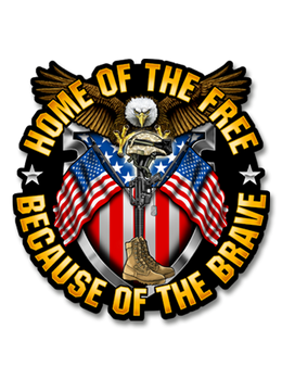 "Home Of The Free, Because of The Brave - 7"" Decal"