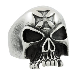 Stainless Steel Iron Cross Skull Ring