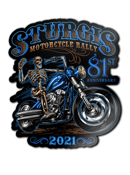 "2021 Sturgis Rally Blue Skeleton 81st Anniversary 4"" Decals"