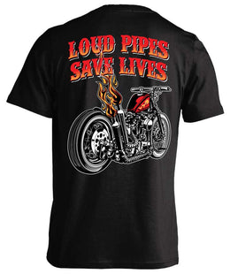 T-shirt - Loud Pipes Save Lives Old School Bobber