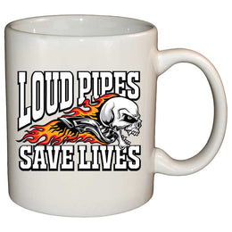 Coffee Mug - Loud Pipes Save Lives Screaming Skull Mug