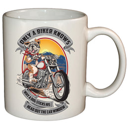 Only A Biker Knows Why A Dog Sticks His Head Out Mug
