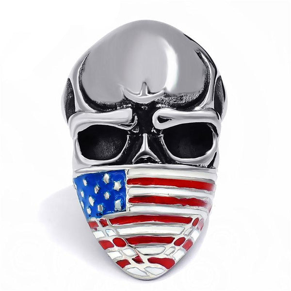 Stainless Steel American Flag Skull Ring