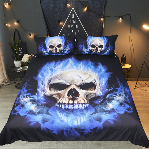 Blue Flame Skull Duvet Cover Bedding Set