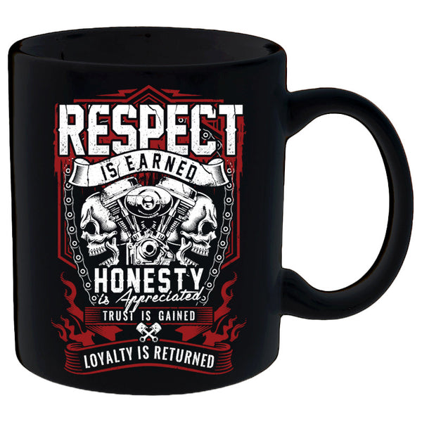 Coffee Mug - Respect Is Earned Skull & Engine Mug
