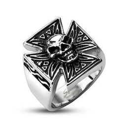 Stainless Steel Sinical Skull Celtic Cross Ring