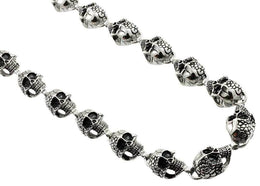 Two-Faced Skull Biker Necklace - 21 inch - Stainless Steel
