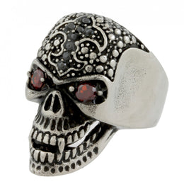 Stainless Steel Evil Red Eyes Skull Ring