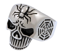 Stainless Steel Spider Web Skull Ring