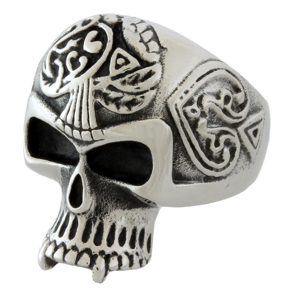 Stainless Steel Triple Spade Skull Ring