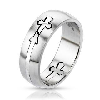 Stainless Steel Dome Cut Out Cross Band Ring