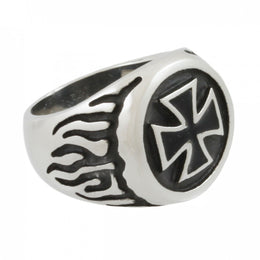 Stainless Steel Flame Iron Cross Ring