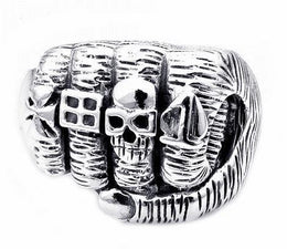 Sterling Silver Skull Fist Hand Ring