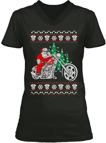 Ugly Christmas T-shirt Biker Santa (Ladies)