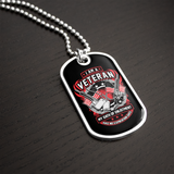 Veteran Oath Flag & Guns Dog Tag Necklace