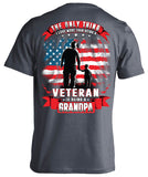 One Thing I Love More Than Being A Veteran Is Being A Grandpa T-shirt (Back Print)