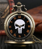 Skull Quartz Pocket Watch with Chain