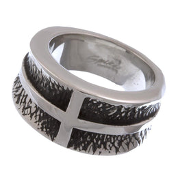 Stainless Steel Wide Cross Ring