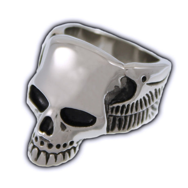 Stainless Steel Winged Skull Ring