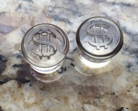 "9/16"" Clear Glass Dollar Sign Plugs"