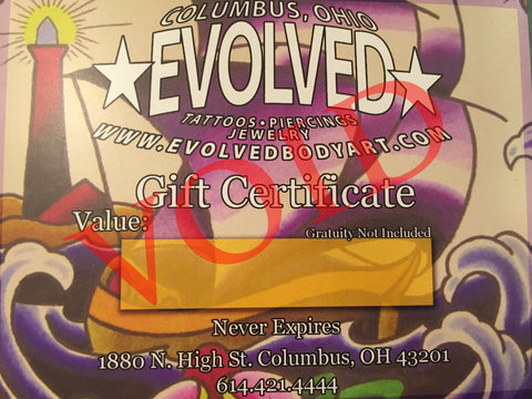 Evolved Body Art Gift Certificate