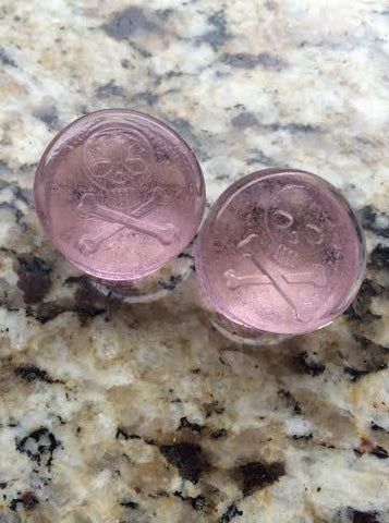 "7/8"" Pink Glass Jolly Roger Plugs"