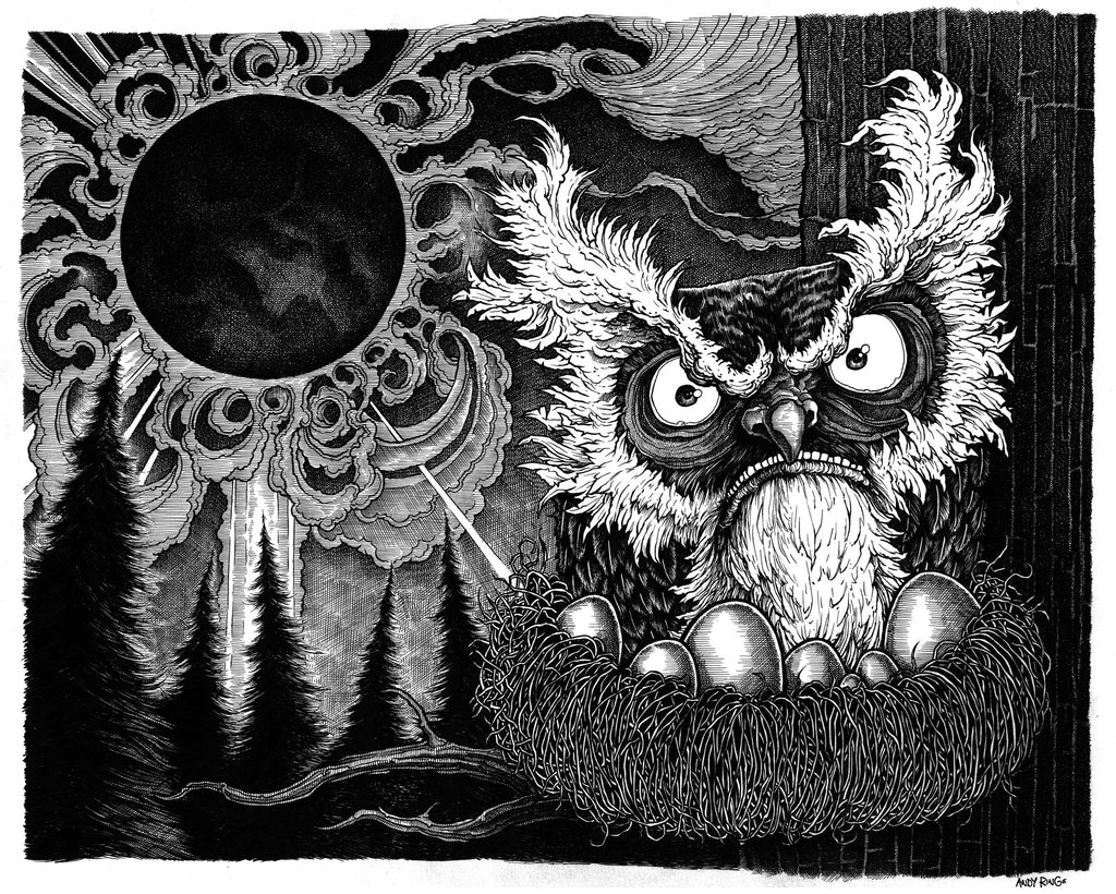 """The Owl and the Solar Eclipse"" 11x14 print by Andy Ringo"