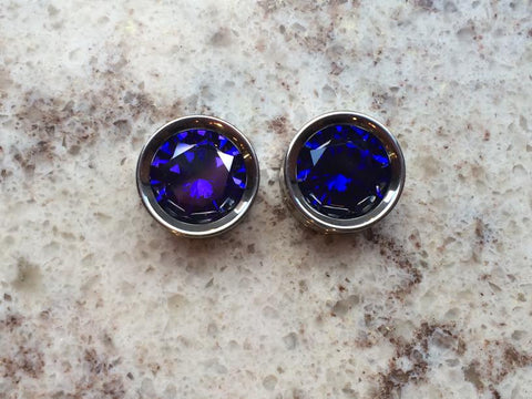 "5/8"" Titanium Floating Stone Eyelets with Synthetic Tanzanite"