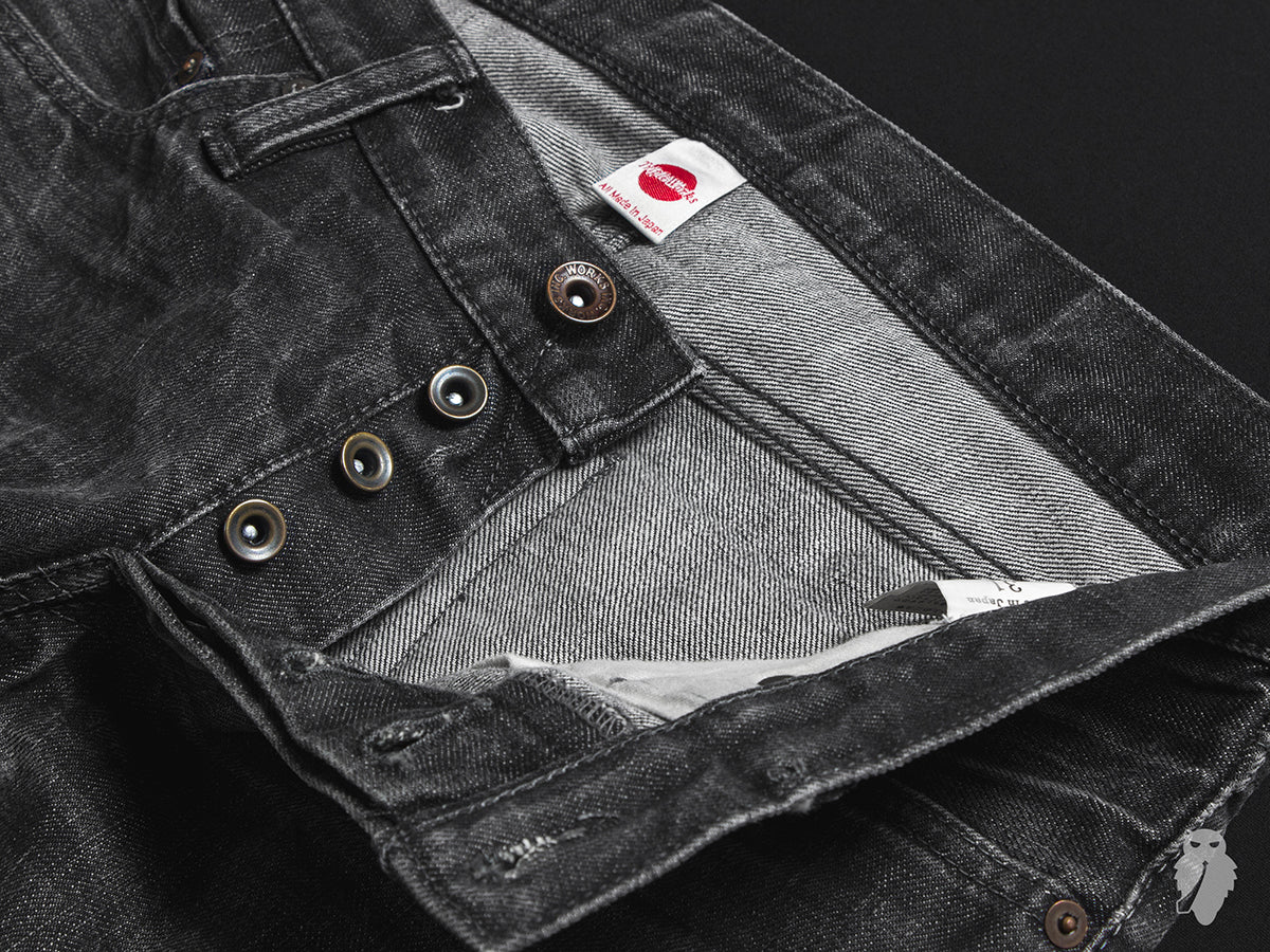 raw denim metal button patina