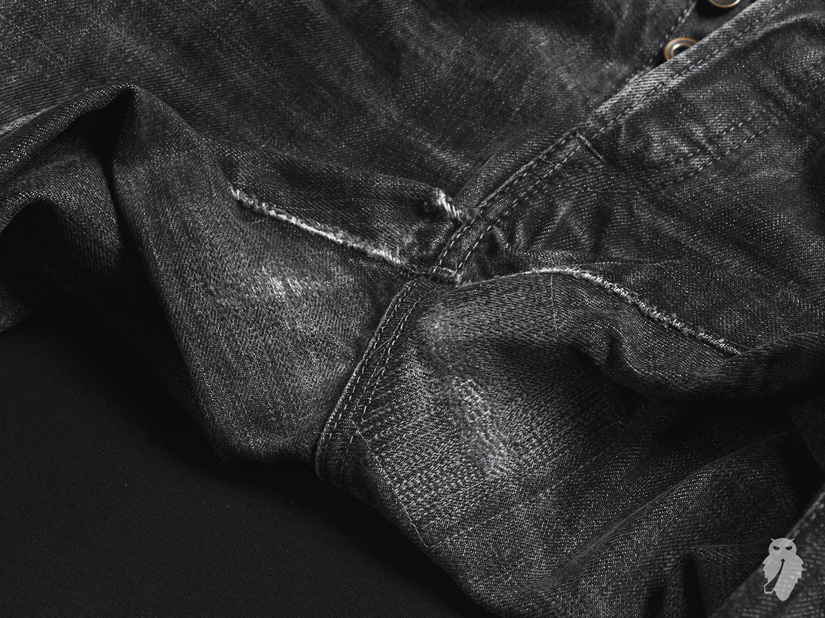 black denim crotch repair