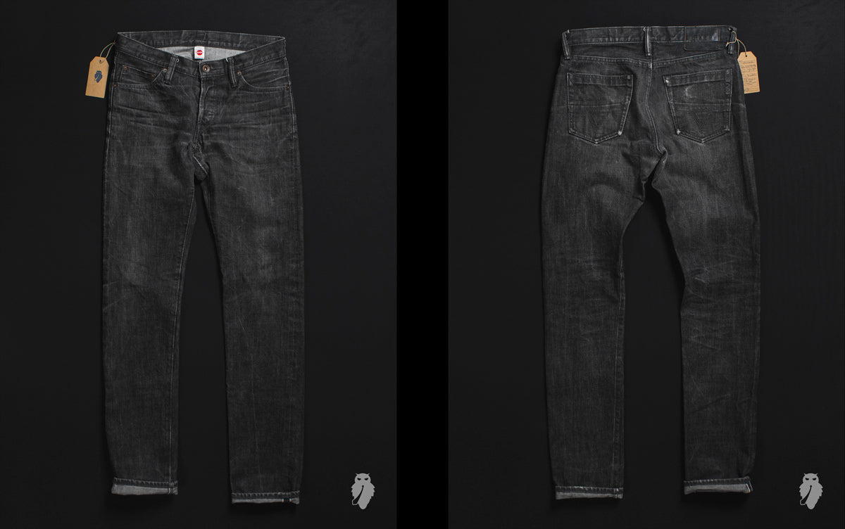 triple works raw denim faded front and back