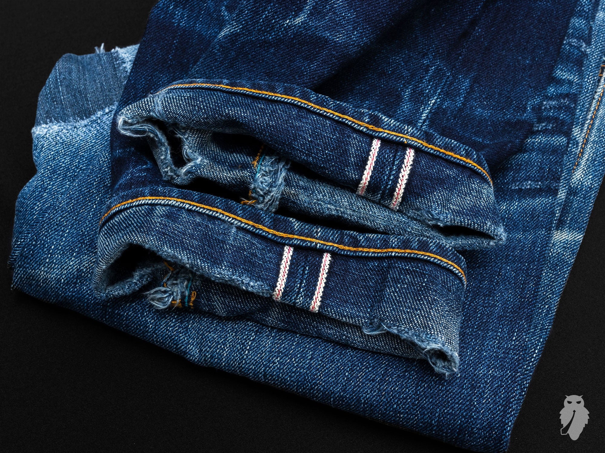 worn in raw denim cuffs selvedge