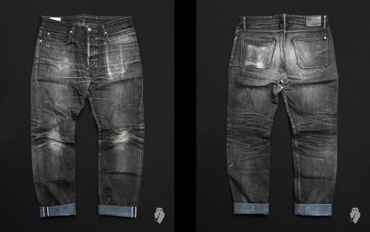 Freenote portola black 14.25oz denim faded