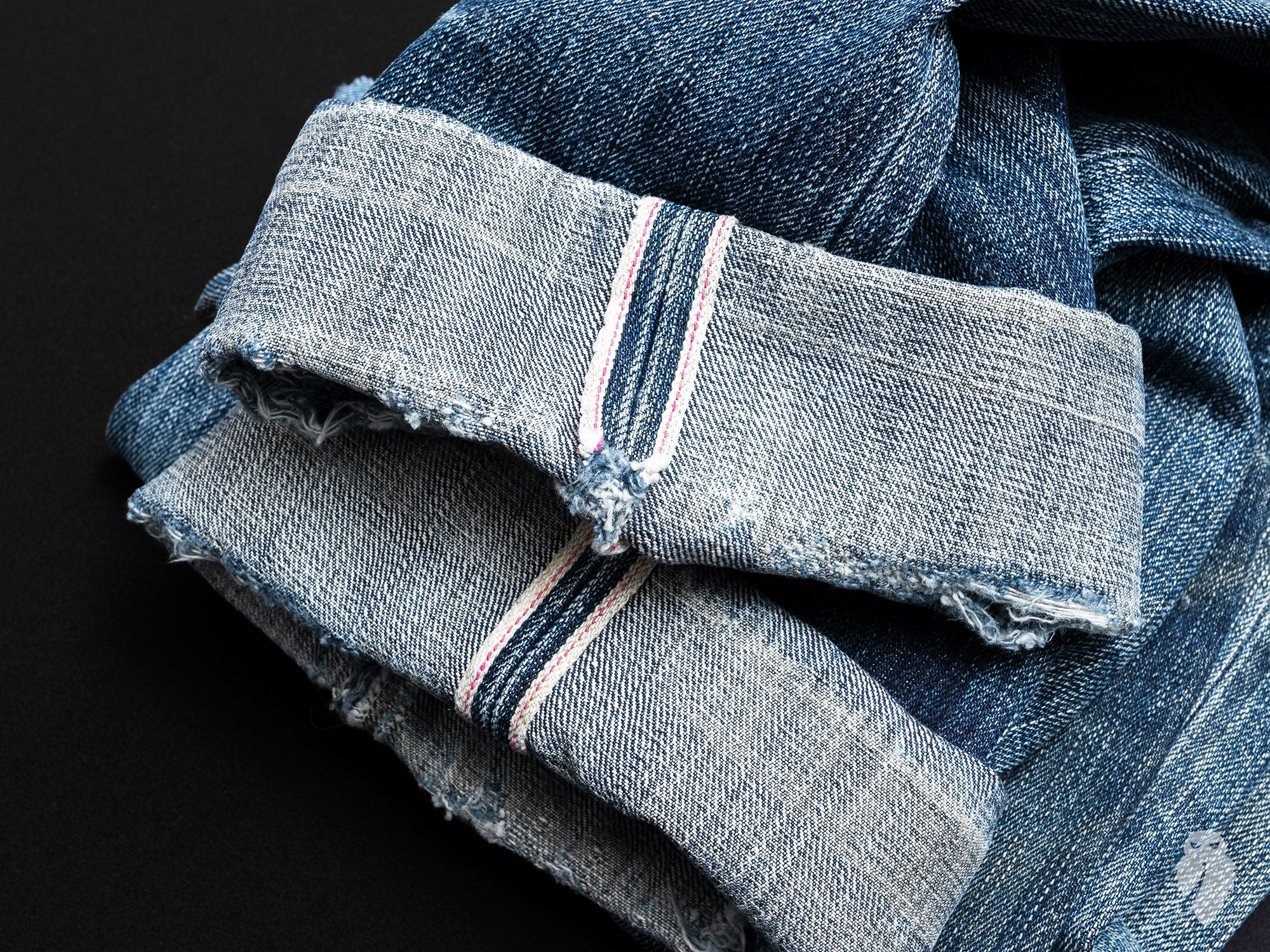 faded raw denim selvedge cuffs