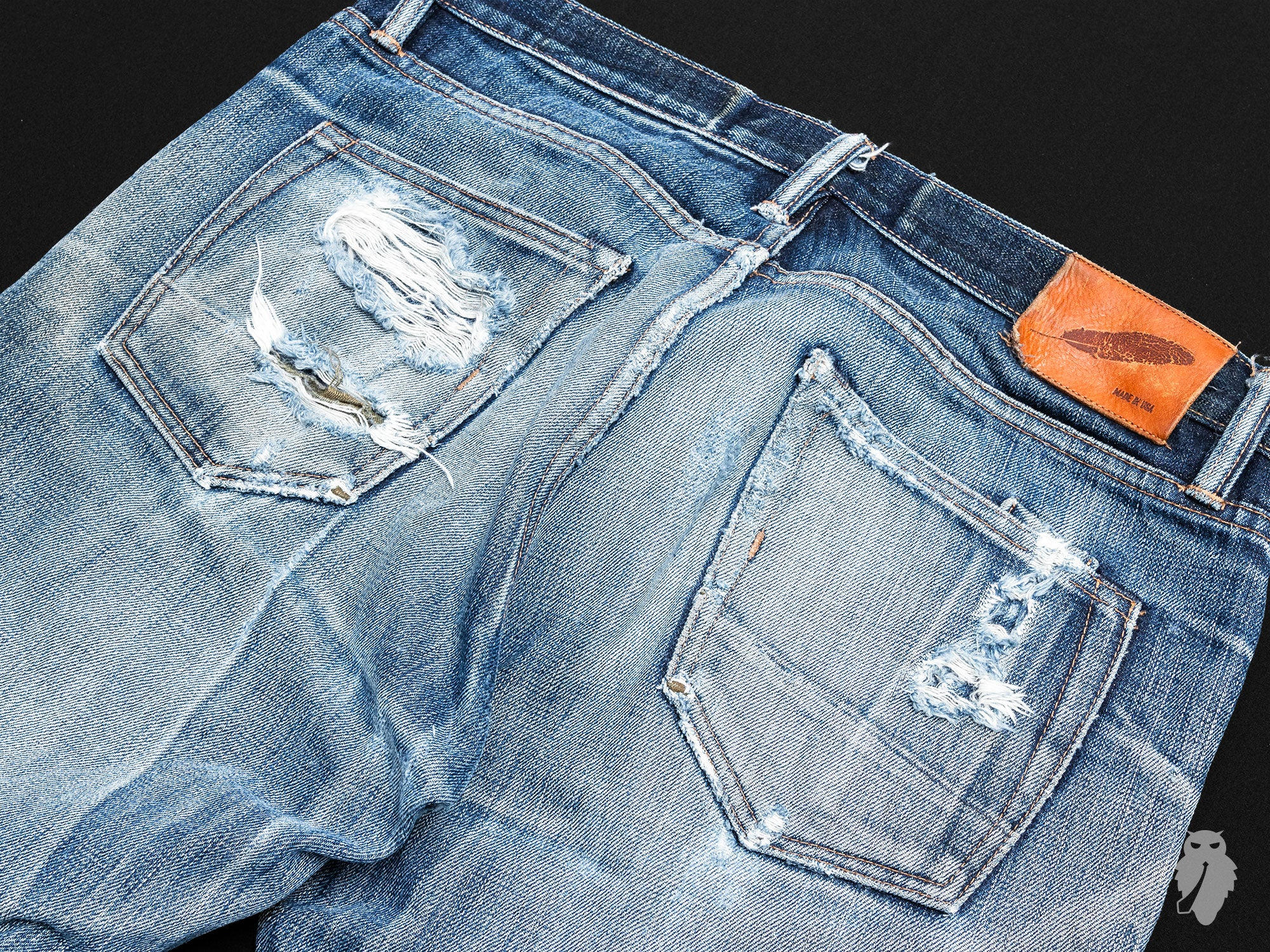 back pocket raw denim fade