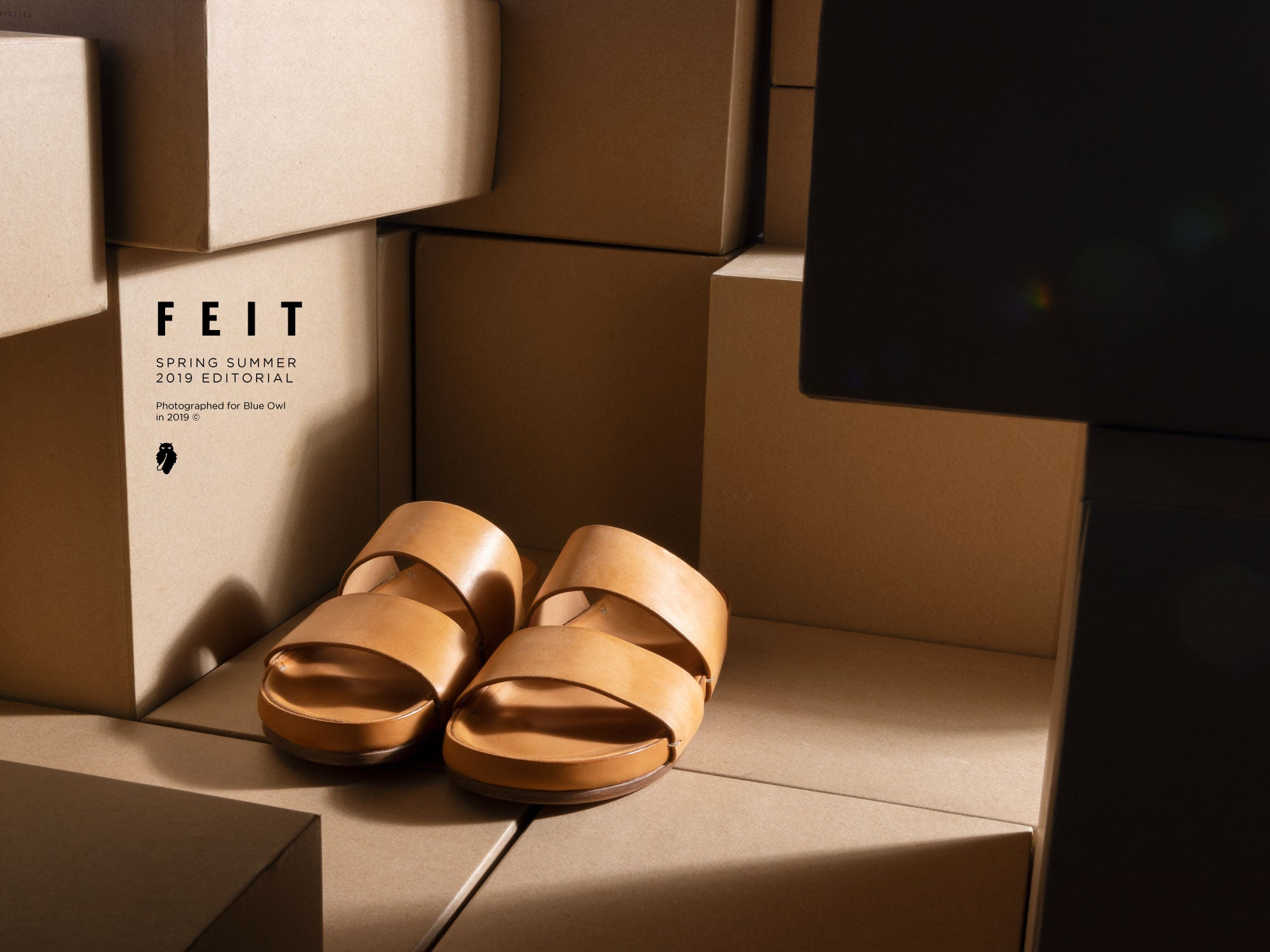 feit natural leather sandals with light