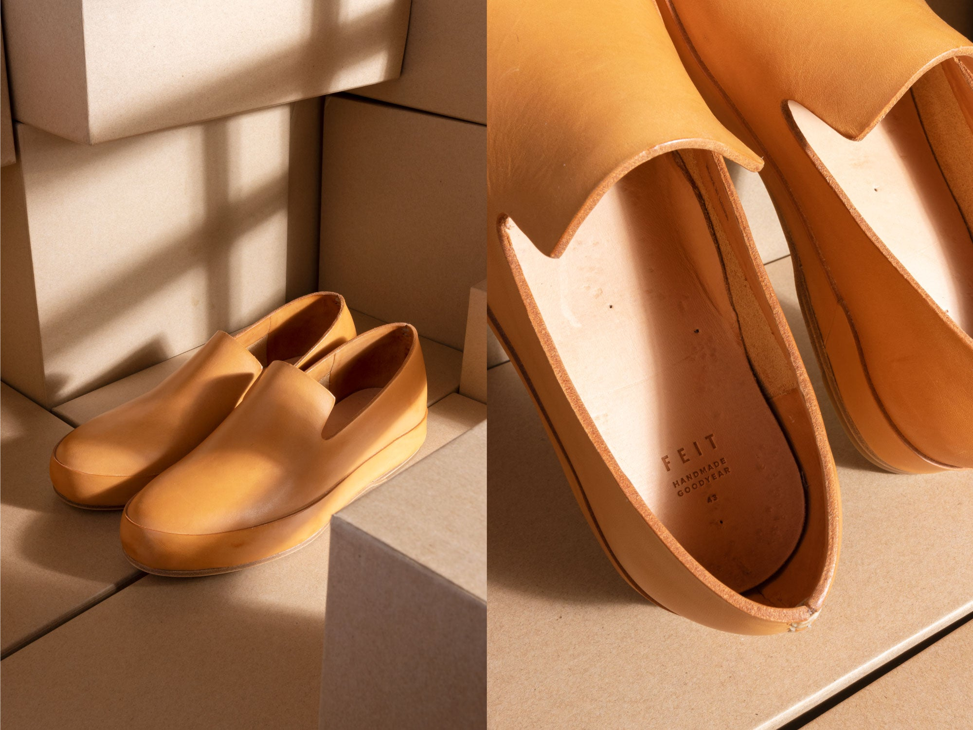 feit natural leather slippers slip-ons with light