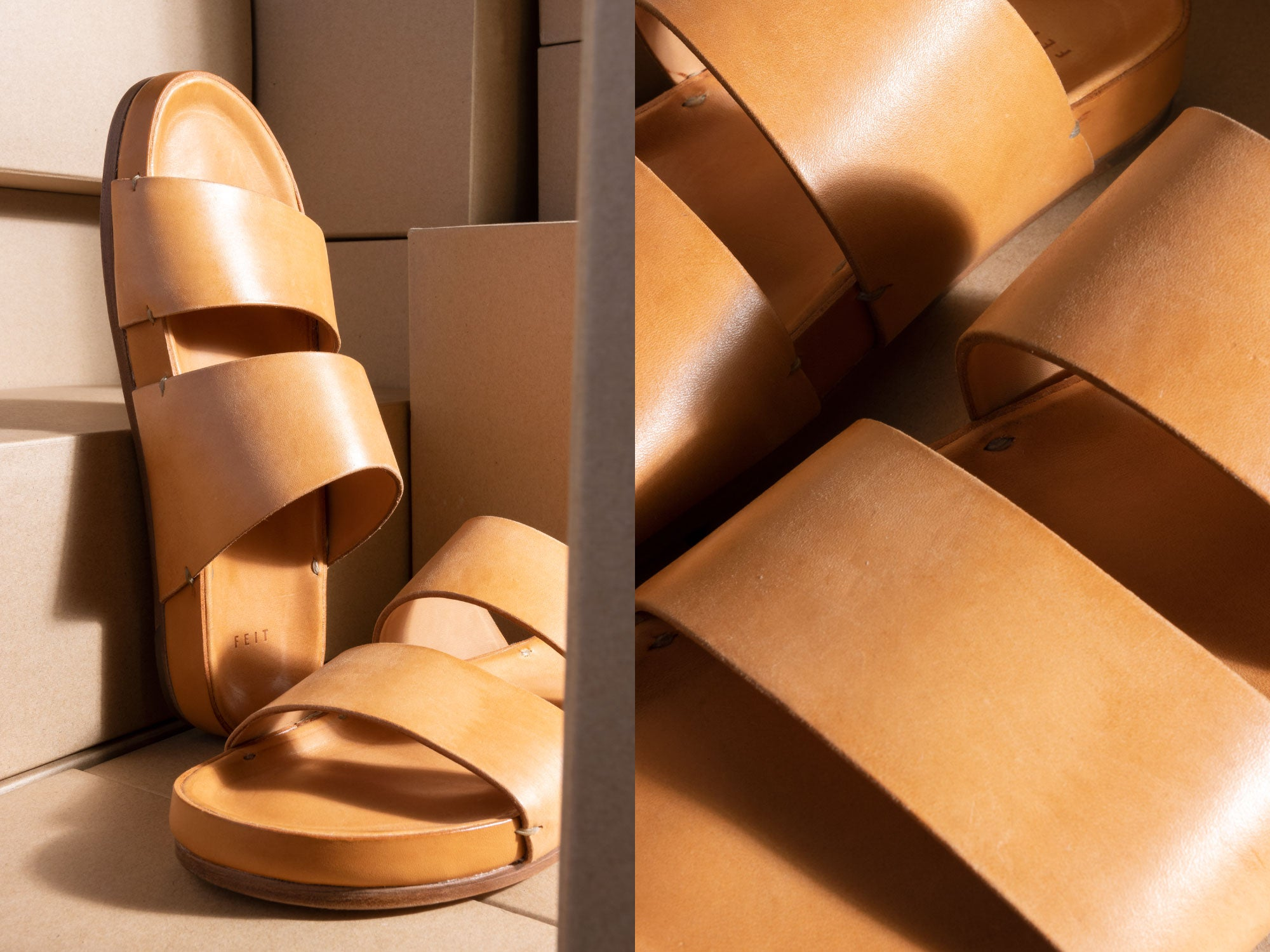 feit hand-sewn natural leather sandal
