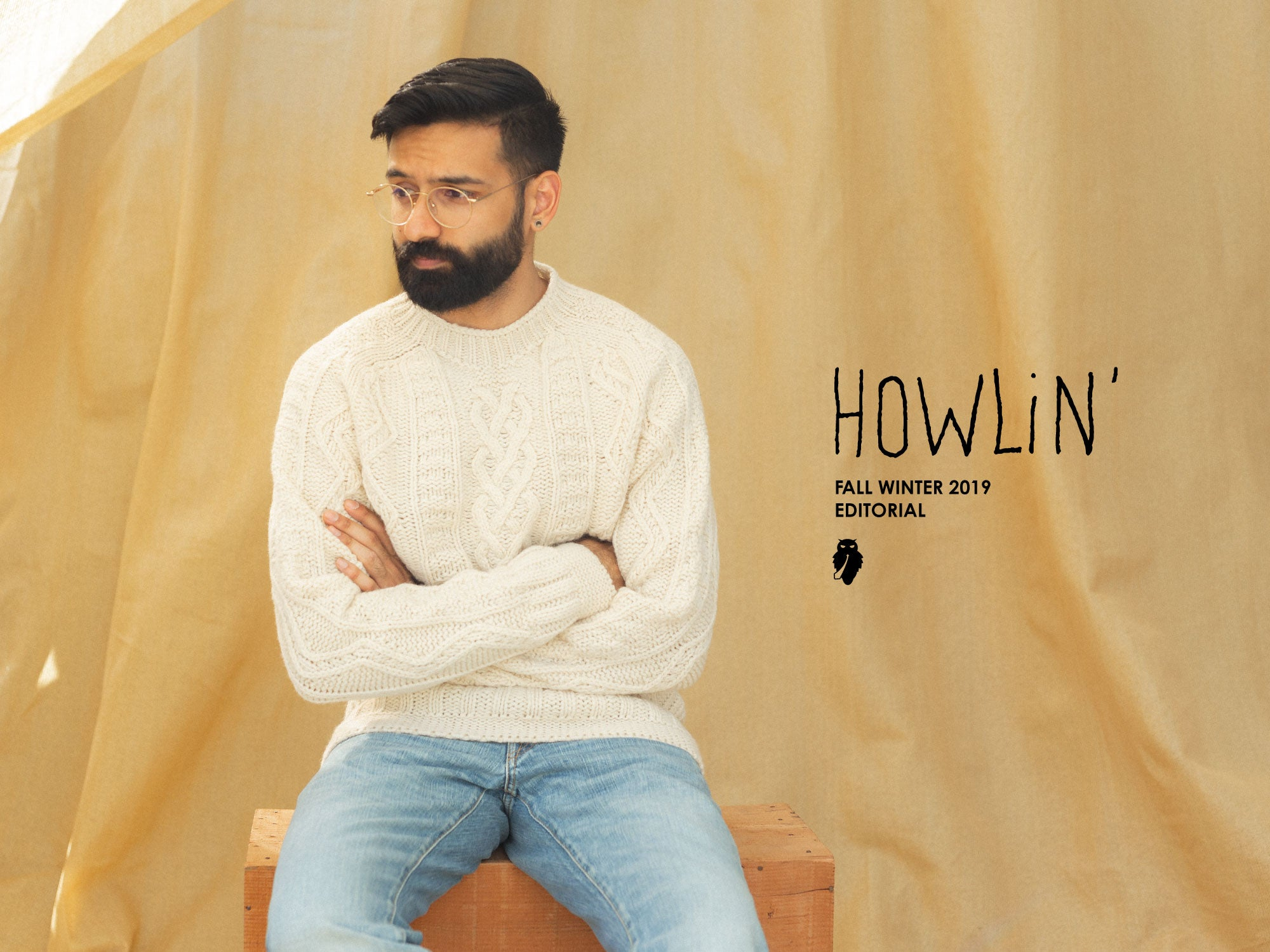 Howlin super-cult cable knit wool sweater