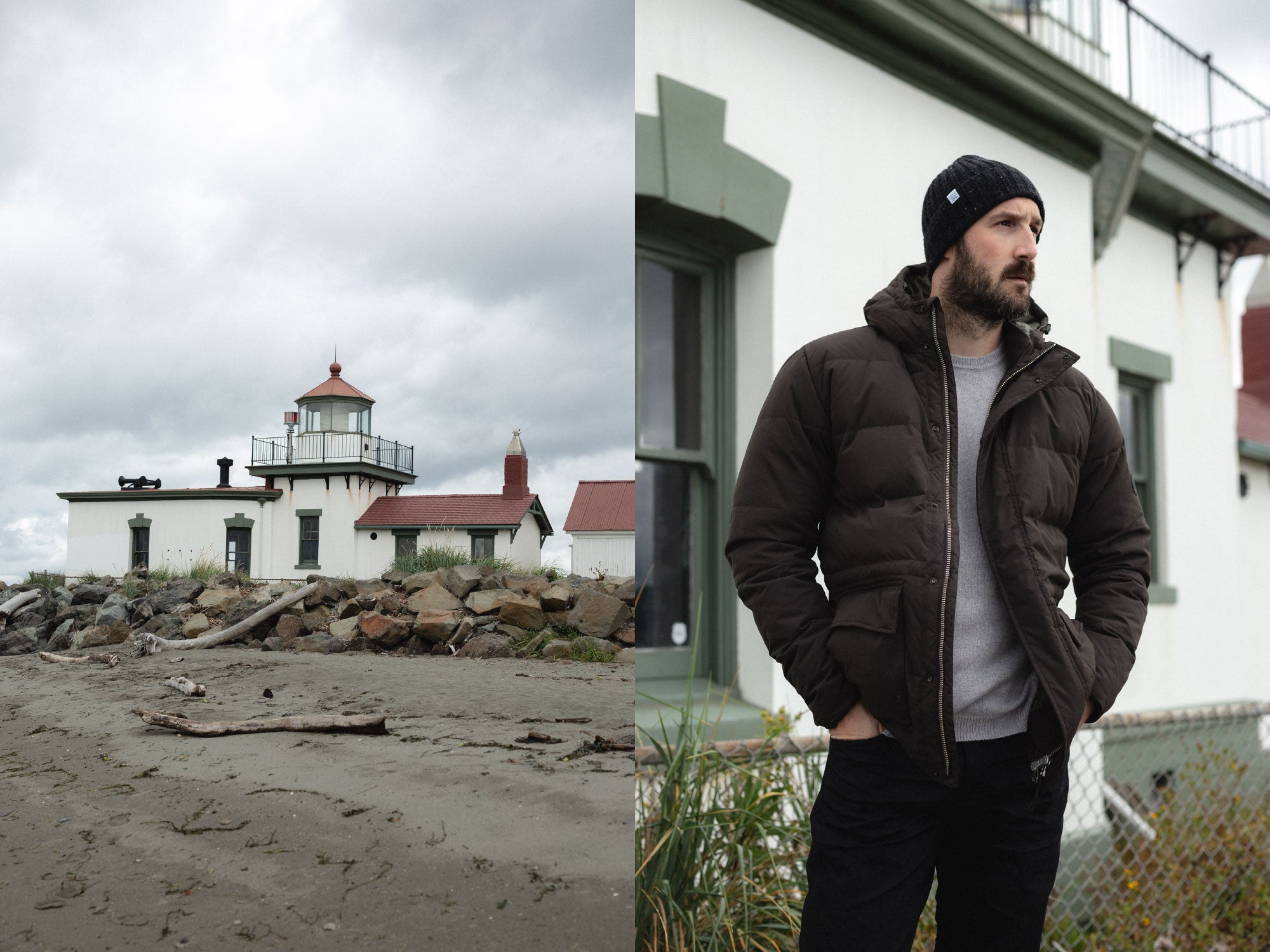 Norse Projects Willum Dry Jacket in Beech Green Discovery Park Lighthouse