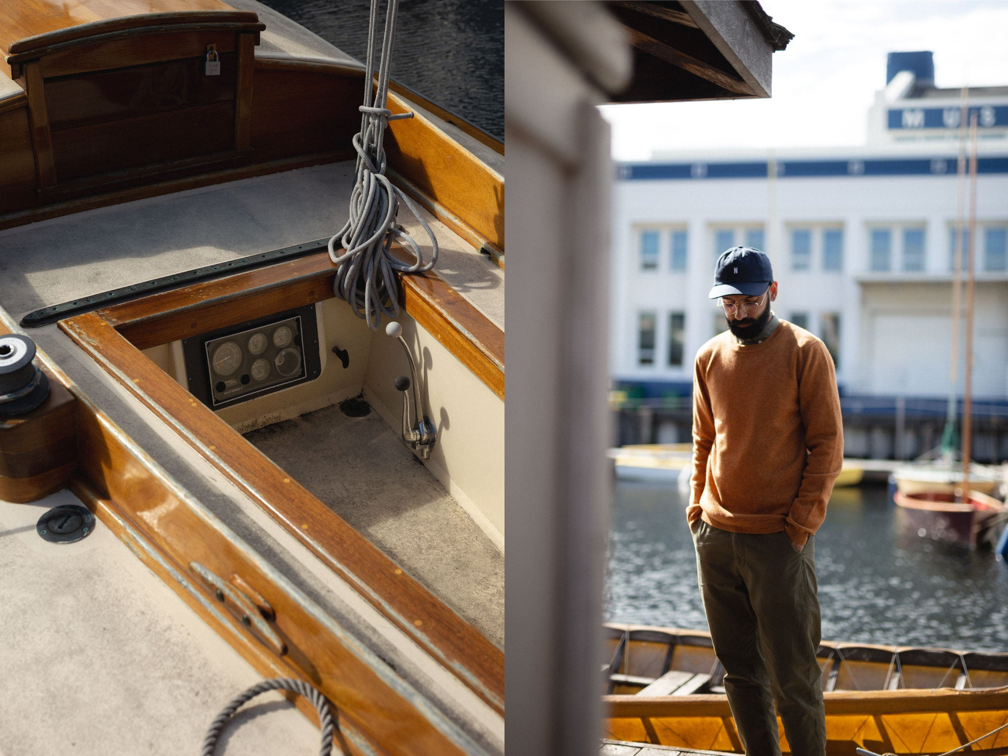 Norse Projects Sigfred Lambswool Sweater in Montpellier Yellow Center for Wooden Boats