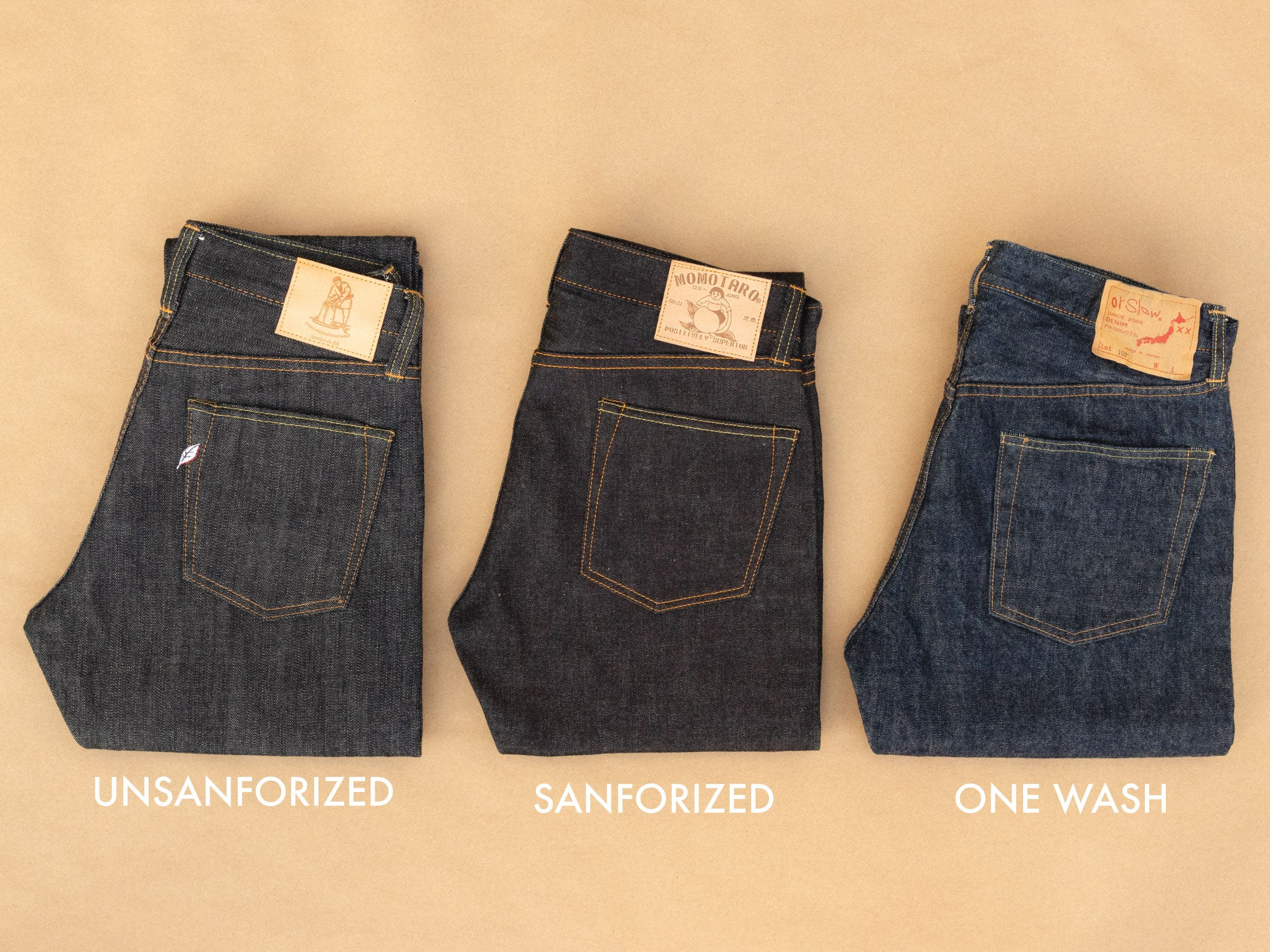 unsanforized sanforized one wash denim side by side