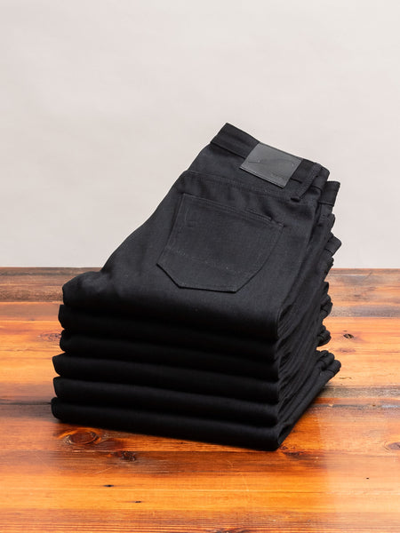 """Cryptic Stealth"" 13.5oz Black Selvedge Denim in Strong Taper"