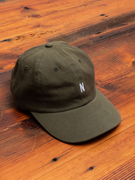 Twill Sports Cap in Washed Kelp