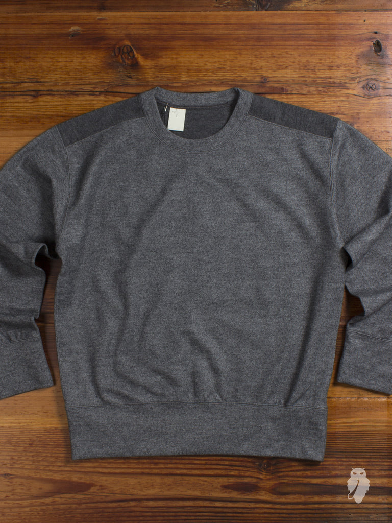 """Paneled Wool"" Crewneck Sweater in Charcoal"