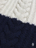 """Vintage Cable Knit"" Wool Sweater in White/Blue"