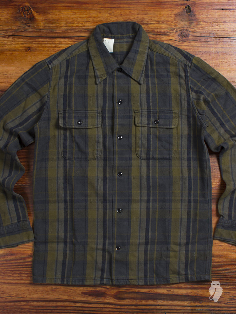 Flannel Work Shirt in Khaki Green