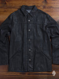 Resin Coated Car Coat in Black