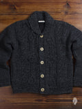 """Cowichan"" Cable Knit Cardigan in Charcoal"
